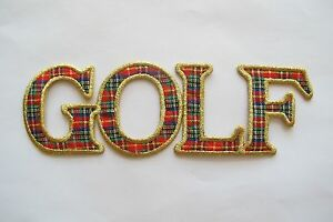 3206-GOLF-PLAID-WORD-EMBROIDERY-APPLIQUE-PATCH
