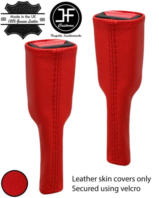 RED REAL LEATHER 2X SEAT BELT STALK TALL COVERS FITS ACURA
