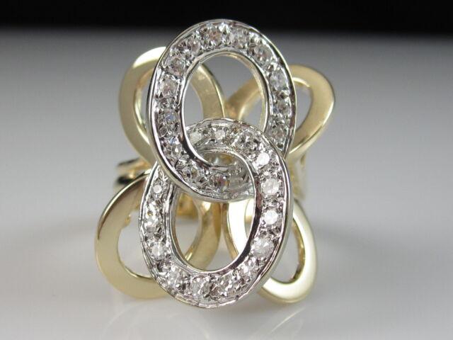 14K Diamond Ring Circle Bubbles G/VS Two-Tone Fine Contemporary Modern Size 6