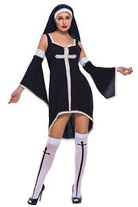 data di rilascio: acquisto genuino stile classico Dettagli su Costume suora sexy completo travestimento carnevale suora sexy  + calze
