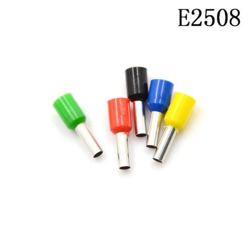 100 Pcs Wire Crimp Terminal Pre Insulated Ferrule Tube E2508 14AWG 2.5mm² J/&S
