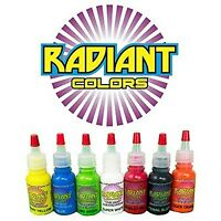 Tattoo Ink Radiant Colors 7 Color 1/2oz Primary Set - Made In The Usa
