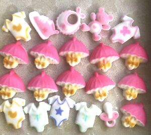 21 x Edible Baby Shower Cupcake Toppers Decorations Party Cakes Teddy Bib Dummy
