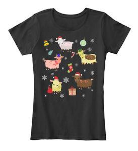 Goat-Pattern-Christmas-Women-039-s-Premium-Tee-T-Shirt