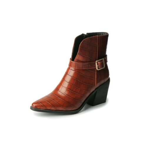 Details about  /New Fashion Women Office Work OL Outdoor Block Heel Buckle Chelsea Ankle Boots L