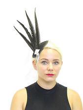 Black Silver Pheasant Feather Fascinator Headpiece Vintage Races Unique Long Z06
