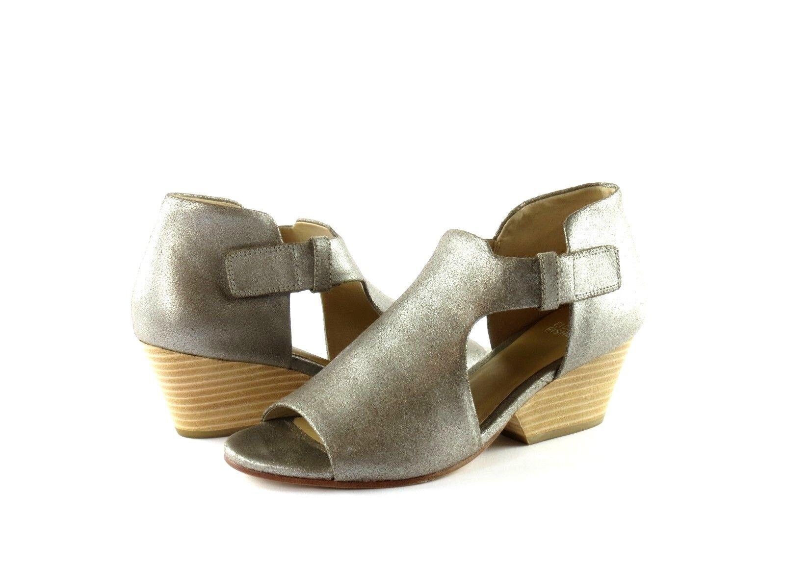 Eileen Fisher Iris Platinum Metallic Suede Stacked Heel Open Toe Sandal Size 7.5