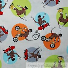 BonEful Fabric FQ Cotton Quilt White Red Brown Sock Monkey Stripe Sport Boy Baby