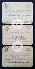 ROYAL AUBERT PALACE Cinéma NICK WINTER Musidora 3 Cartons d'Invitation Lyon 1921