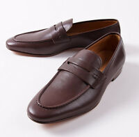 $650 Canali 1934 Brown Soft Calf Leather Penny Loafer Us 8.5 D Shoes