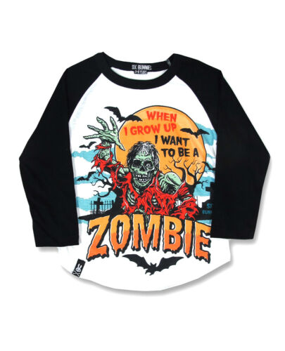 Six Bunnies When I Grow Up Zombie Kids Tee Raglan Top Punk Rock Boy Tee