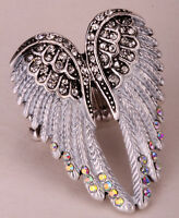 Angel Wing Stretch Ring Women Biker Bling Jewelry Gifts Gold & Silver Tone 2