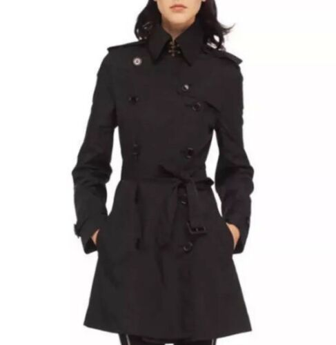 Norma Kamali Double Breasted Trench Coat Jacket Bl