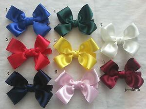Jemlana-039-s-handmade-school-hair-clip-Satin-ribbons-for-girl-lots-color-to-pick