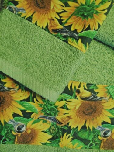 CUSTOM BORDER NEW SUNFLOWERS AND GOLD FINCHES DECOR 3 PC TOWEL SET GREEN YELLOW