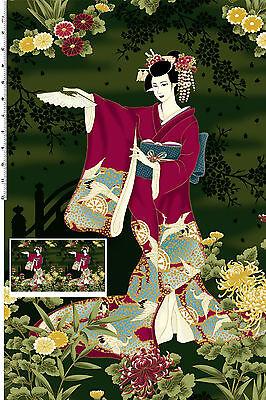 Geisha Hana Bashi Dark Green Panel Cotton Quilting Fabric - 60cm x 110cm