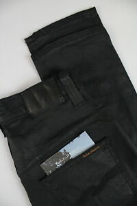 Details about NUDIE Jeans THIN FINN ORG. BLACK 2 black Women's W27L32 Waxed Look Jeans #0913_