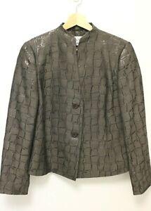 MAX-MARA-Women-039-s-Wool-Blend-2-Button-Reflective-Kimono-Jacket-Brown-US-12