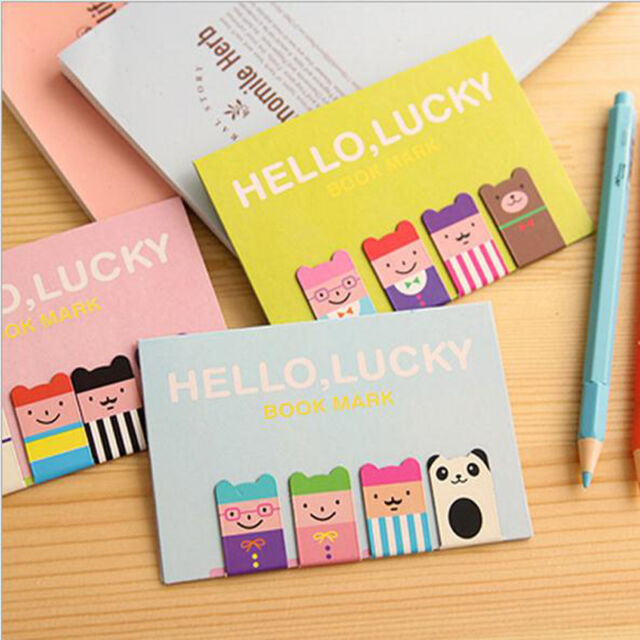 4pcs Bookmarks Note Pad Memo Stationery Book Mark Novelty Funny Gift For Reader
