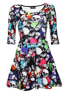 New-Ladies-Multi-Skulls-Butterflies-Abstract-Print-3-4-Sleeve-Skater-Dress-Goth