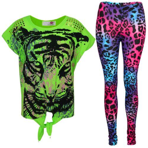 New Ragazze Tigre Viso Stampa Festa Moda Top T Shirt /& Leopardo Set Leggings