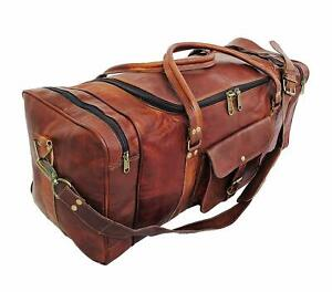 Details About Us Men S New Large Leather Travel Gym Bag Weekend Overnight Duffle Handbag