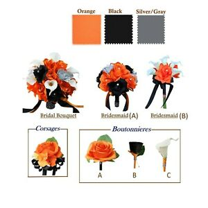 Orange-Silver-and-Black-Artificial-Flowers-Bouquet-Corsage-Choose-Products