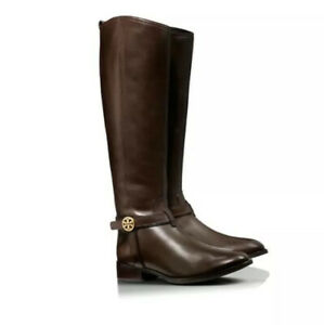Tory-Burch-Coconut-Brown-Leather-Bristol-Zip-Riding-Boots-Size-US-9