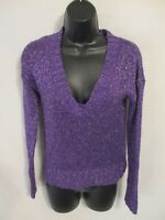 Mudd Cotton Blend Juniors Size M Royal Purple V Neck Sweater Sr $36