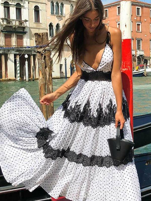 Kleid maxi große kleid mode frau weiß schwarz weich bohoo bohemia 5141