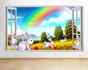 J567-Lapins-Champ-arc-en-fenetre-Salle-mur-Autocollant-Chambre-3D-Vinyle-enfants
