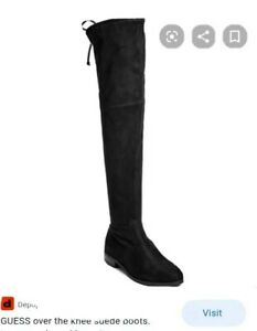 GUESS Black Suede Thigh High Flat Boots