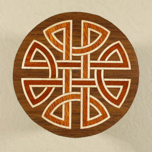 """Celtic Knot"" All Natural Wood Marquetry Inlay Coffee Coaster 312"" C26"