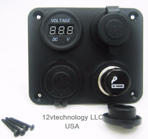 Panel High Power 4.2 A USB Charger Voltmeter 12V Socket /& Lighter Plug Dash