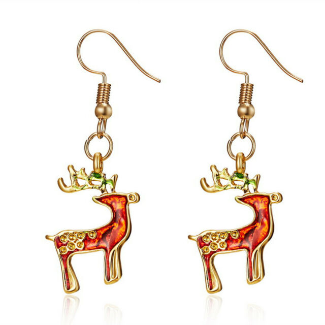 Trendy Christmas Ornaments Earrings Enamel X-mas Bell tree ...