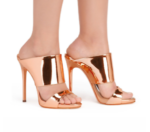 Plus Size Womens Peep Toe Sandals Metallic Patent Leather Mule Shoes Slippers z1
