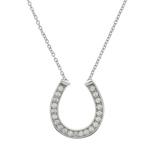 STERLING SILVER LUCKY HORSESHOE PENDANT /& NECKLACE