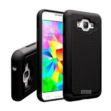 Black Dual Layer Hybrid Hard Case For Samsung Galaxy Grand Prime SM-G530W G530H