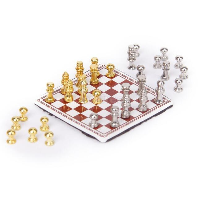 Miniature International Chess Game Board Set Dolls House Study Library Accessory