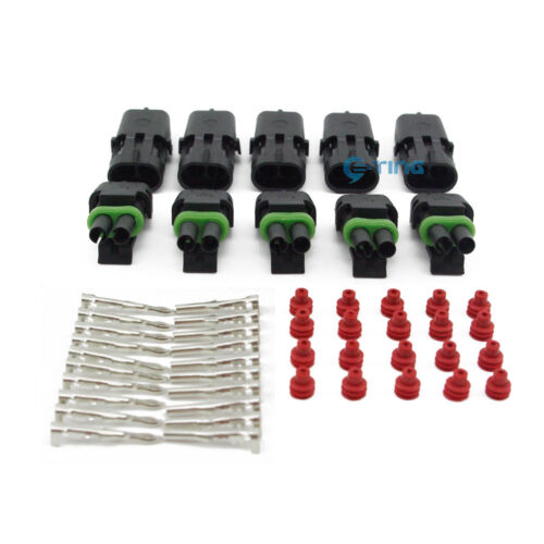 1.5MM 2 Pin WAY WATERPROOF Vehicle ELECTRICAL WIRE CABLE CONNECTOR PLUG 5 Kits