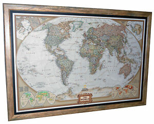 framed world map national geographic executive 40 x 28 brown barnwood frame ebay. Black Bedroom Furniture Sets. Home Design Ideas