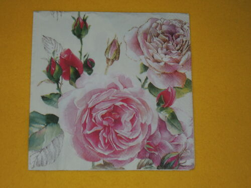 10 Servietten TEA ROSE Rosen rosa Serviettentechnik Motivservietten Blumen 1//2