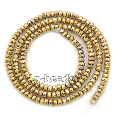 Gold Hematite Rondelle Spacer Beads 16'' 2mm 3mm 4mm 6mm 8mm Smooth Faceted