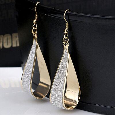 Glitter long Crystal Scrub Water Drop Hook Dangle Earrings Women Jewelry