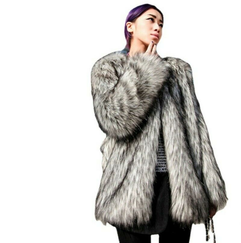 Womens Ladies Trench Faux Fur Thicken Slim Fit Outwear Causal Coat Party Jacket