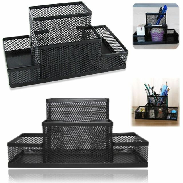 School Office Stationery Organizer Black Mesh Style Pen Pencil Ruler Holder Desk