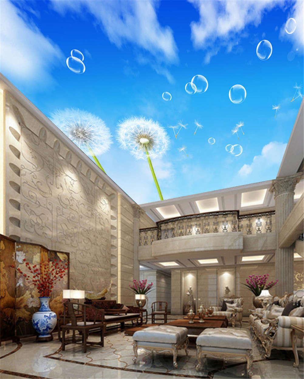 Azure Vast Dandelion 3D Ceiling Mural Full Wall Photo Wallpaper Print Home Decor