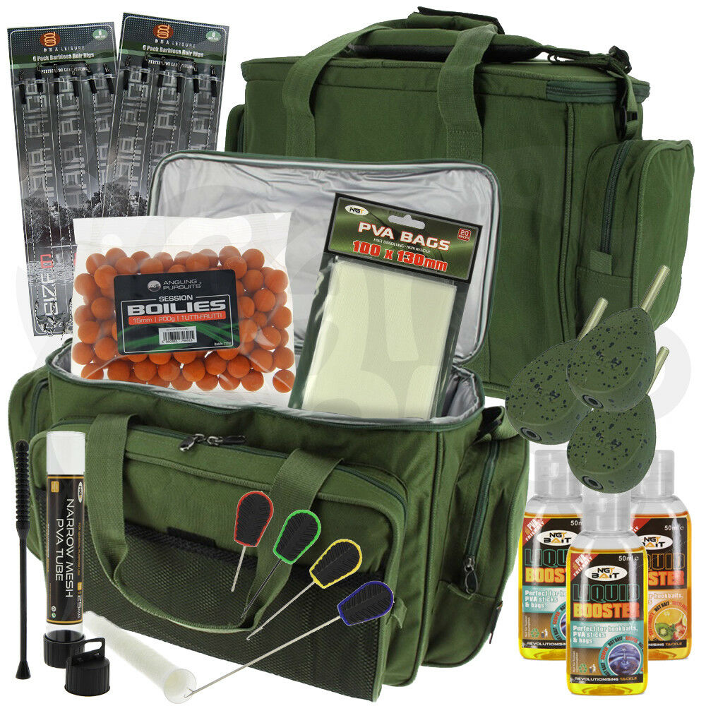 NGT Carpa Grossolani Pesca Attrezzatura Terminale Esche Set Carry All Pva Boilie