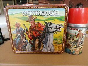 Vintage-Very-Rare-1973-Gunsmoke-Metal-Lunchbox-With-Matching-Thermos-VG