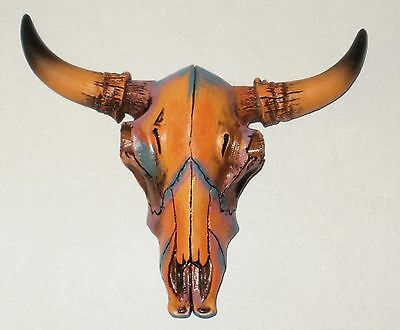 "NEW~5.25"" Bull Skull w/Horns Colorful Western Tribal Wall Hanging Steer Cow"